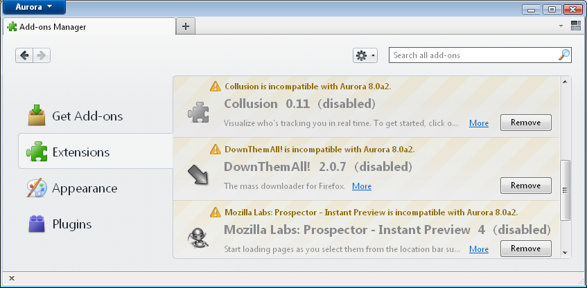 Get Incompatible Firefox Addons Working in Aurora and